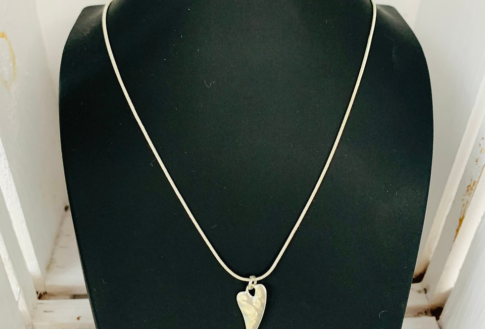 Funky silver heart necklace