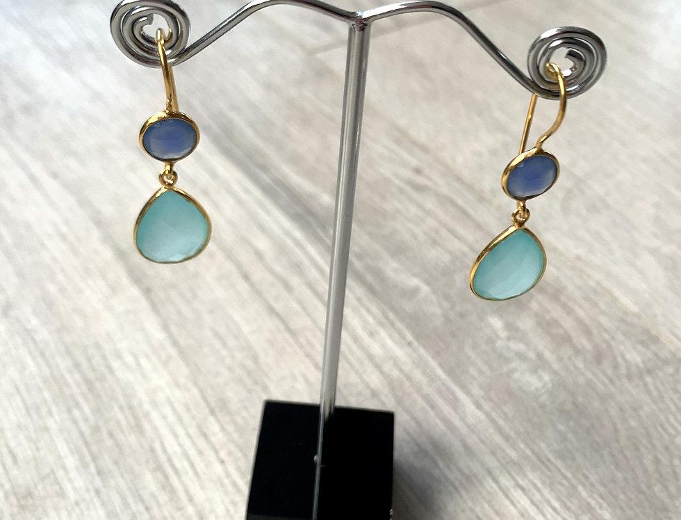 Blue Topaz and Aqua Chalcedony hooks