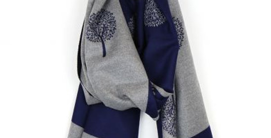 tree of life scarf - navy
