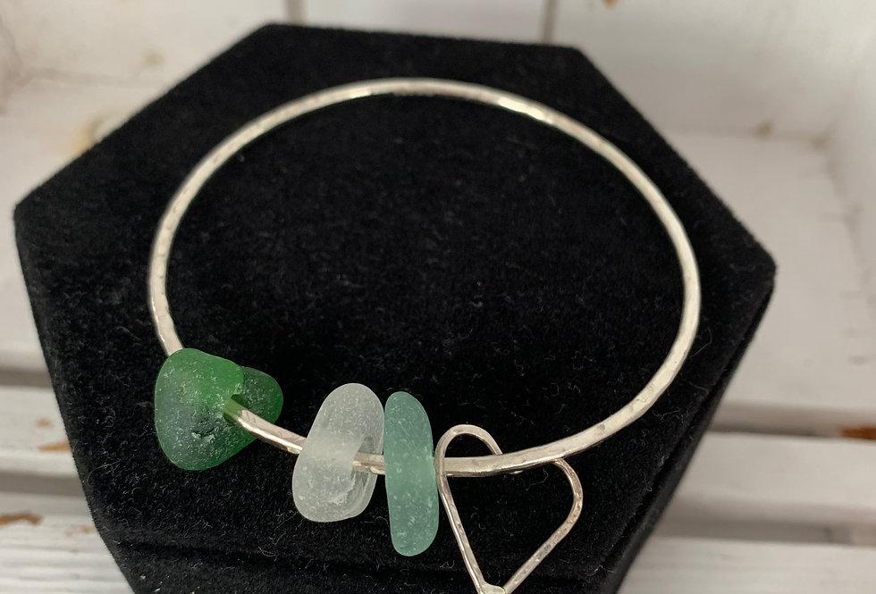 Scilly sea glass bangle