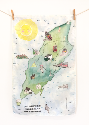 Isle of Man Map Tea Towel