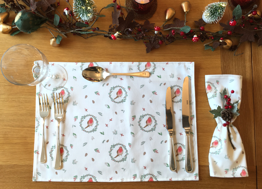 Robin Christmas Placemat & Napkin
