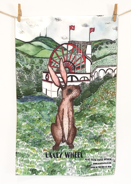 Laxey Wheel Tea Towel