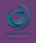 PHOENIX TALES BLUE LOGO (PURPLE BACKGROU