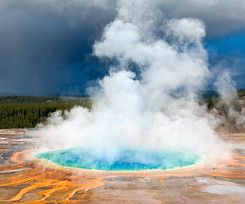 Prismatic Spring Against Thunderstorm