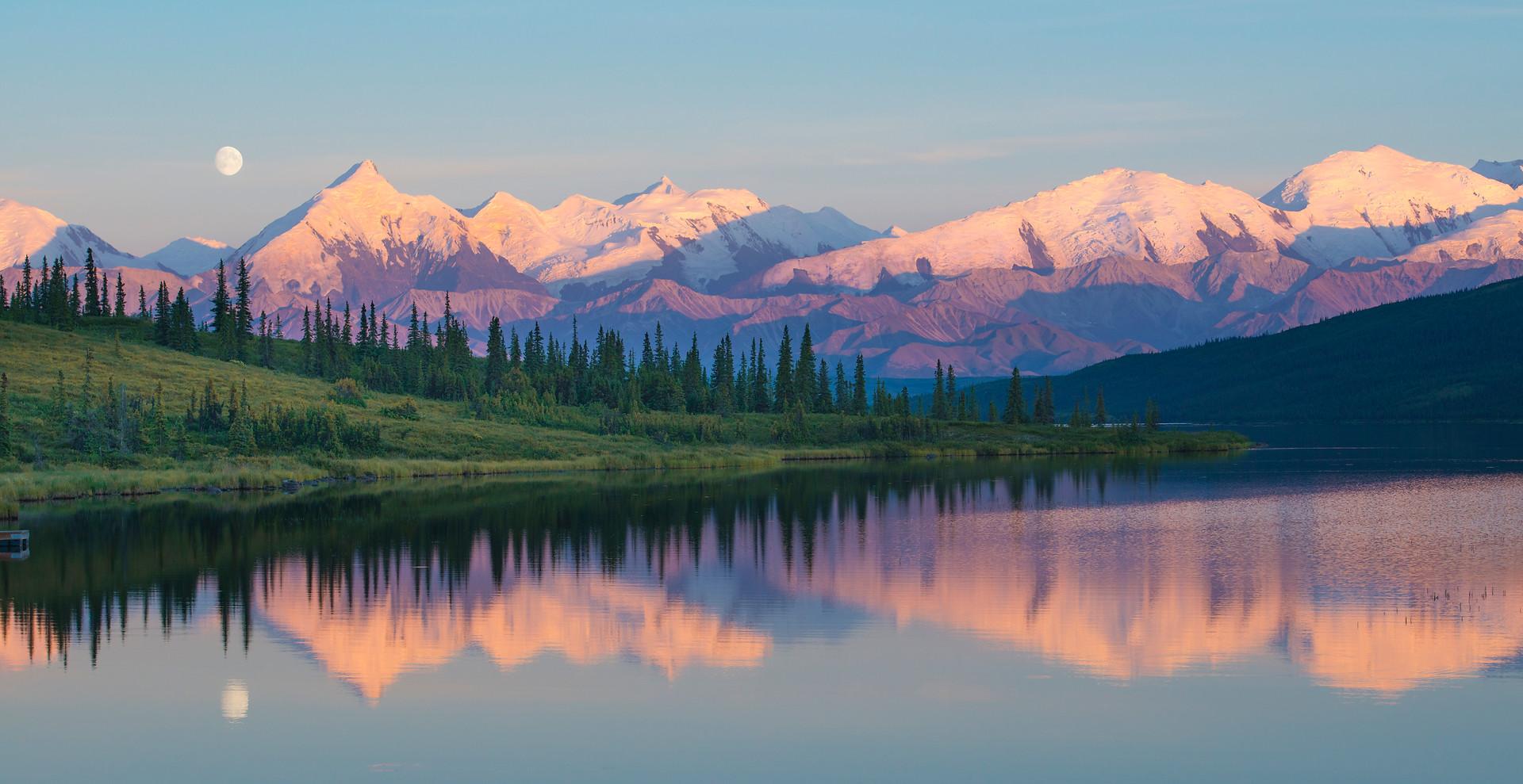 Moonrise Over Wonder Lake