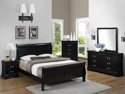 5 Piece Sleigh Bedroom Suite Black