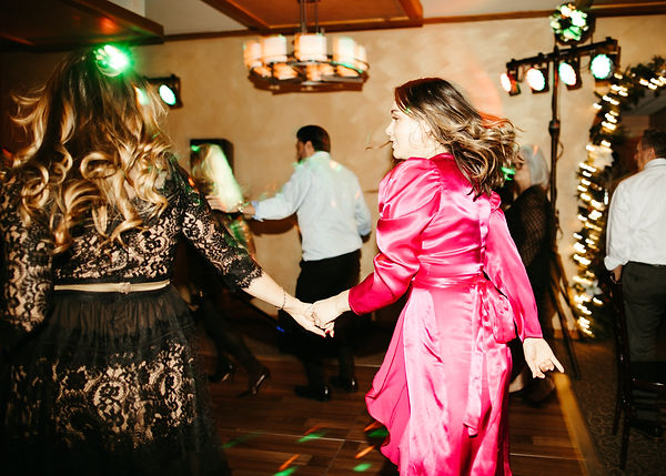 wedding guests on reception dance floor