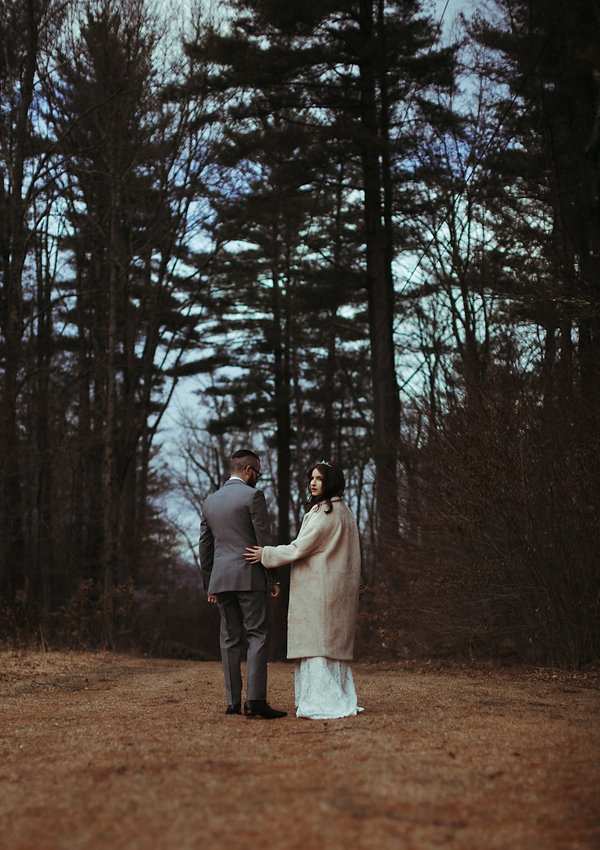new england gothic bride and groom in woods