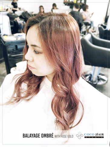 Balayage Ombré with Rose Gold
