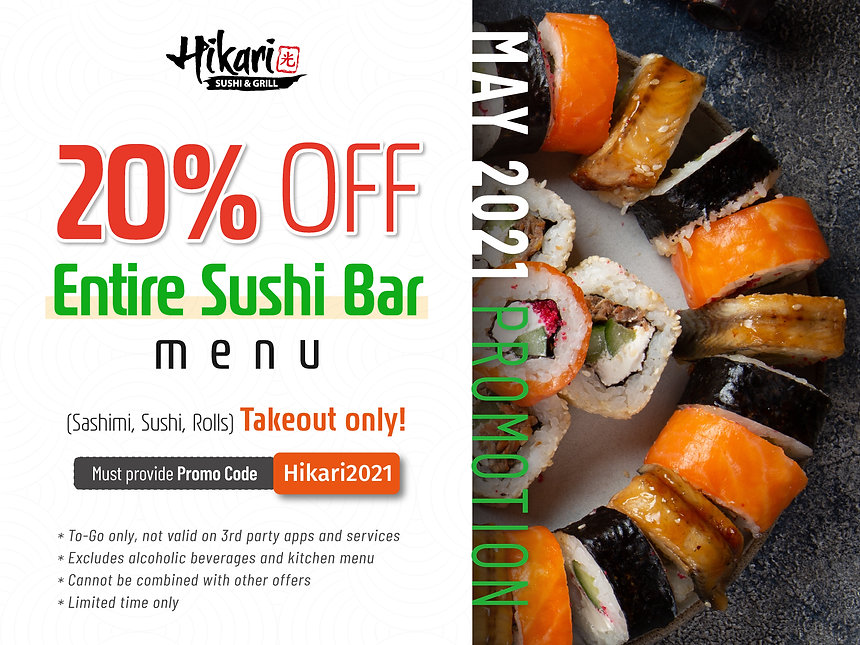 Hikari Sushi_Promotions_20% off Entire s