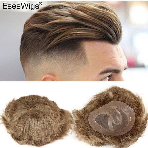 HERR| Herren Toupee Mono Haarteil Perücken Ersatzsystem für Männer # 21