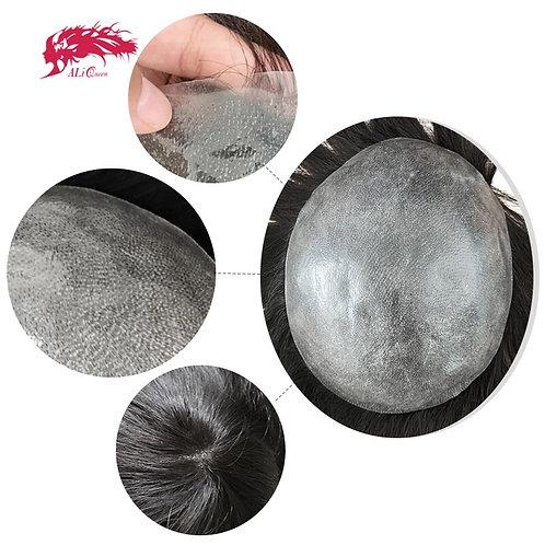 PU Transparente dünne Haut 0,04-0,06 mm Herren Toupee Haarersatzsysteme