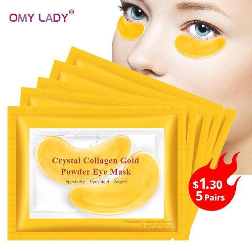 OMY LADY 10pcs=5pack Gold Masks Crystal Collagen Eye Mask Anti-Wrinkle Eye