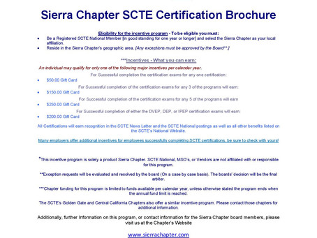 Sierra Chapter Member Incentive