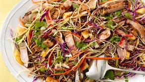 Rainbow Slaw Salad with Seared Pork