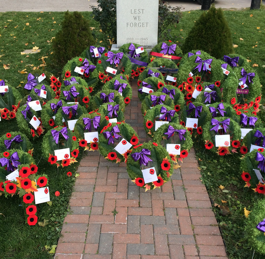 Wreaths at Coldwater Cenotaph
