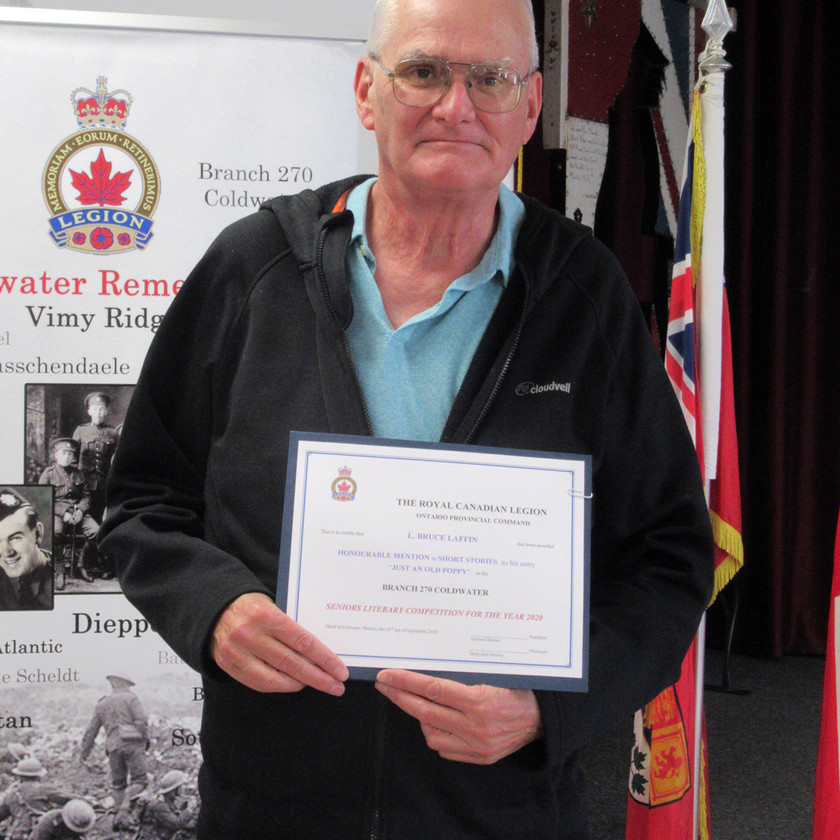 Participant in this year's Legion's (Ontario Command) Seniors Literary Competition, Bruce Laffin, received an Honourable Mention in the Short Story category for his submission titled Just an Old Poppy (Photo by Wanda Beaudoin)