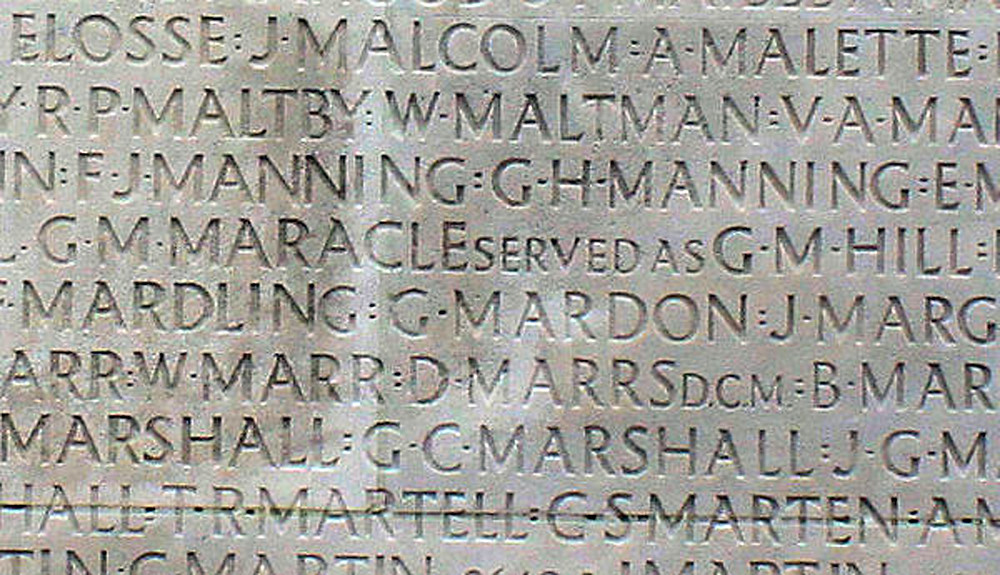 "The engraving on the Vimy Memorial reflects Private Maracle's real name as well as the one he served under: ""GM MARACLE served as GM HILL""."