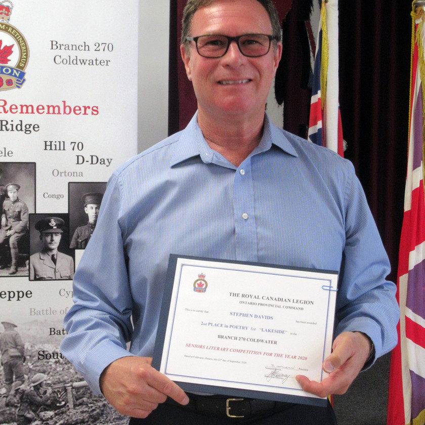 Participant in this year's Legion's (Ontario Command) Seniors Literary Competition, Stephen Davids placed 2nd in the Poetry category for his submission titled Lakeside (Photo by Wanda Beaudoin)