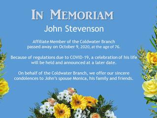 IN MEMORIAM: JOHN STEVENSON