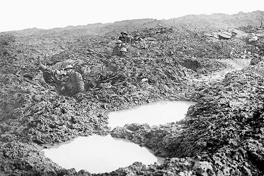 Canadian soldiers take position in shell holes near Passchendaele, November 1917
