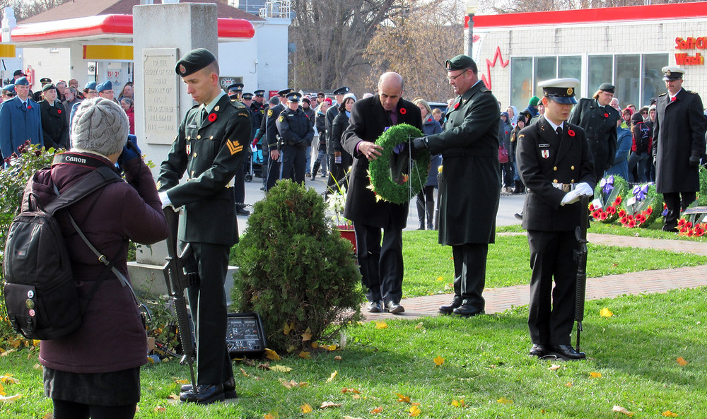 Mayor Mike Burkett lays a wreath on behalf of the Township of Severn during the annual Remembrance Day Ceremony held on November 11 at the Coldwater Cenotaph (Photo by Wanda Beaudoin)