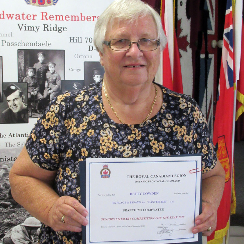 Participant in this year's Legion's (Ontario Command) Seniors Literary Competition, Betty Cowden placed 4th in the Essay category for her submission titled Easter 2020  (Photo by Wanda Beaudoin)