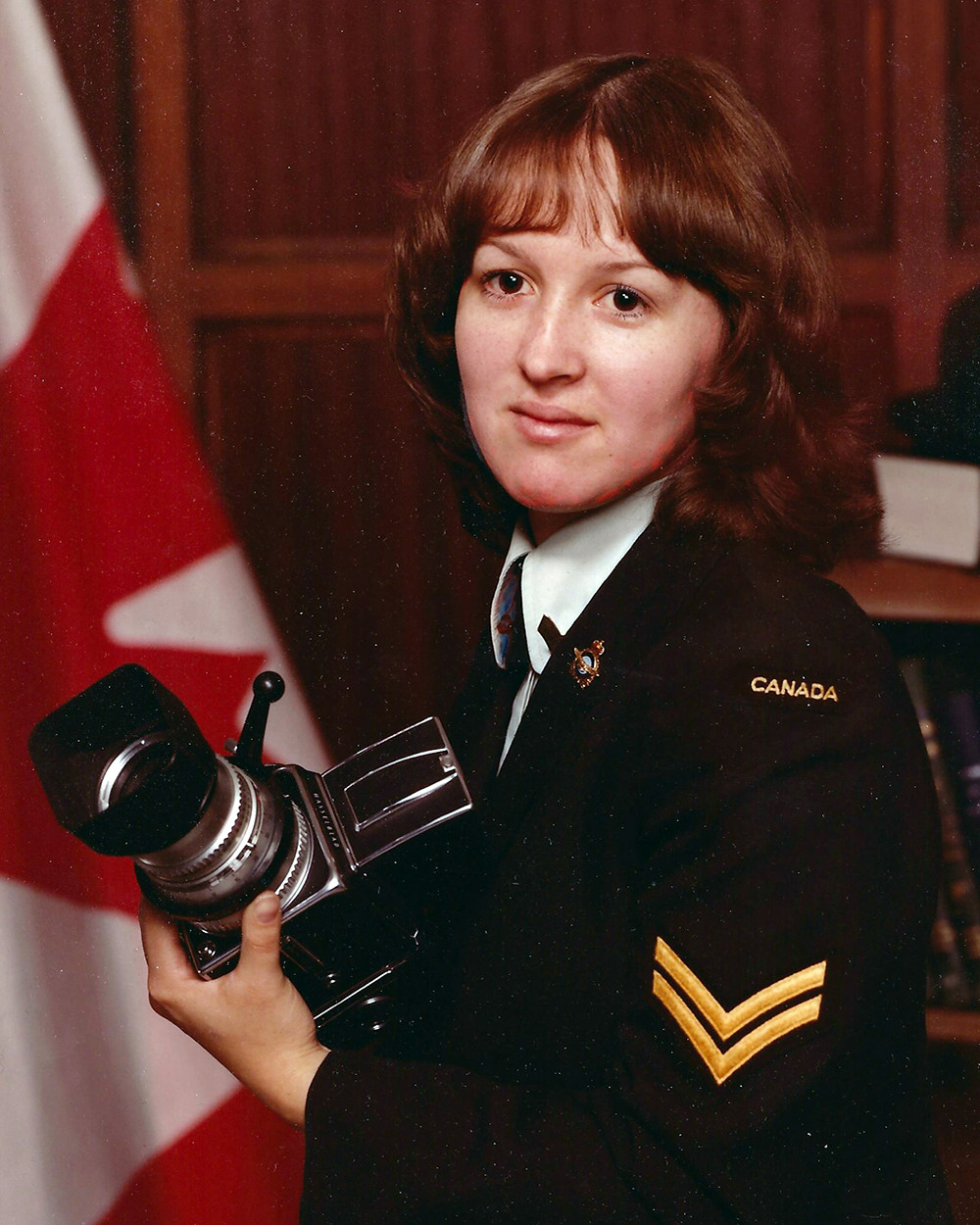 Corporal Wanda Beaudoin early on in her career as a Photographic Technician in the Canadian Armed Forces.
