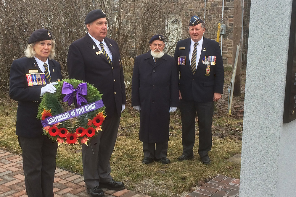 Coldwater Branch President Betty-Jean Murray (left) prepares to lay a wreath at the Cenotaph on Vimy Ridge Day, April 9.  Accompanying her are, left to right: Comrades Wayne Tutt; Tom Thompson; and Norm Marion.