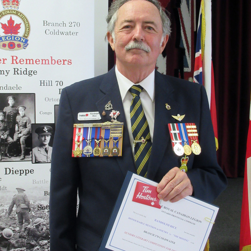 Participant in this year's Legion's (Ontario Command) Seniors Literary Competition, Randolph Rice received an Honourable Mention in the Poetry category for his submission The Missing (Photo by Wanda Beaudoin)