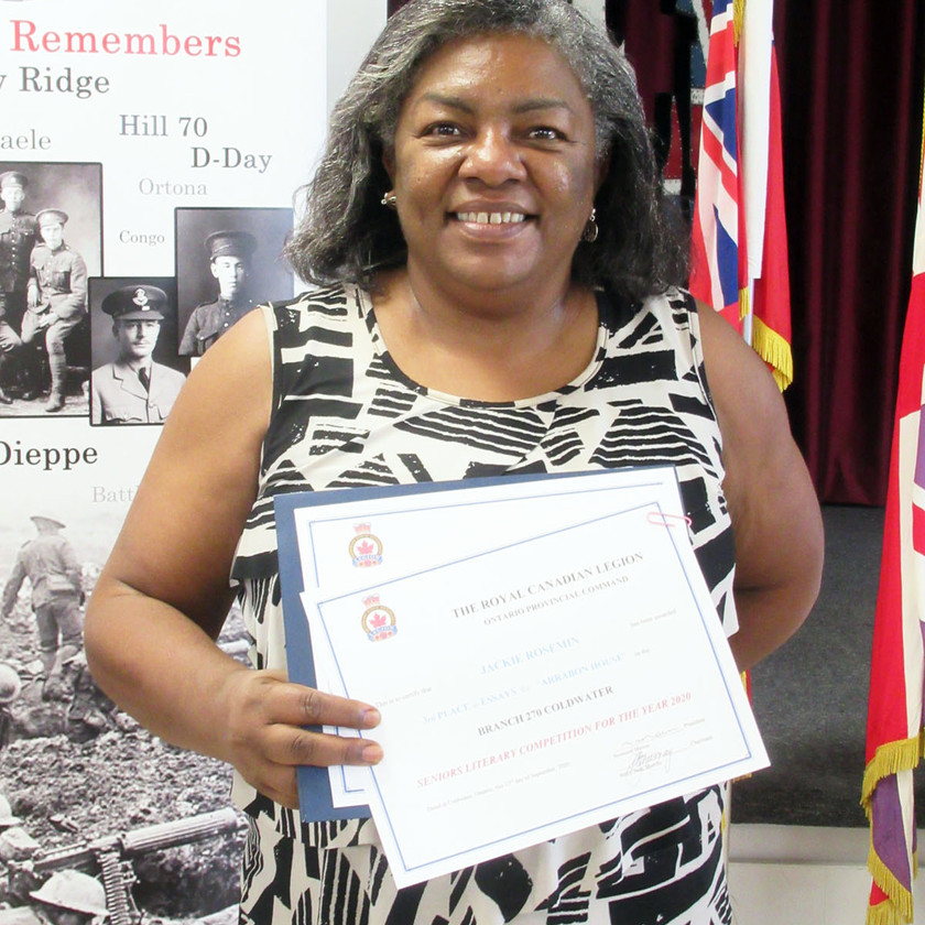 Participant in this year's Legion's (Ontario Command) Seniors Literary Competition, Jackie Rosemin placed 3rd in the Essay category for her submission titled Arrabon House, and 3rd in the Memoir category for Jackie's Encounters (Photo by Wanda Beaudoin)