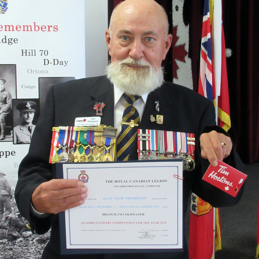 "Participant in this year's Legion's (Ontario Command) Seniors Literary Competition, Alan ""Tom"" Thompson placed 3rd in the in the Memoir category for his submission True Naval Experience (Photo by Wanda Beaudoin)"