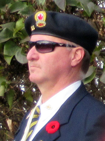 Dean McArthur on parade with the Coldwater Legion, Remembrance Day 2016