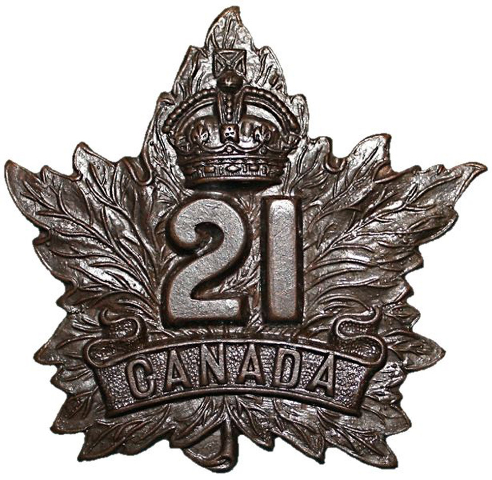 The cap badge of the 21st Canadian Infantry Battalion in which Private McDonald served.