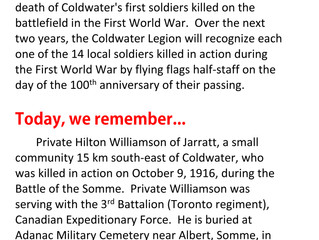 REMEMBERING PRIVATE WILLIAMSON