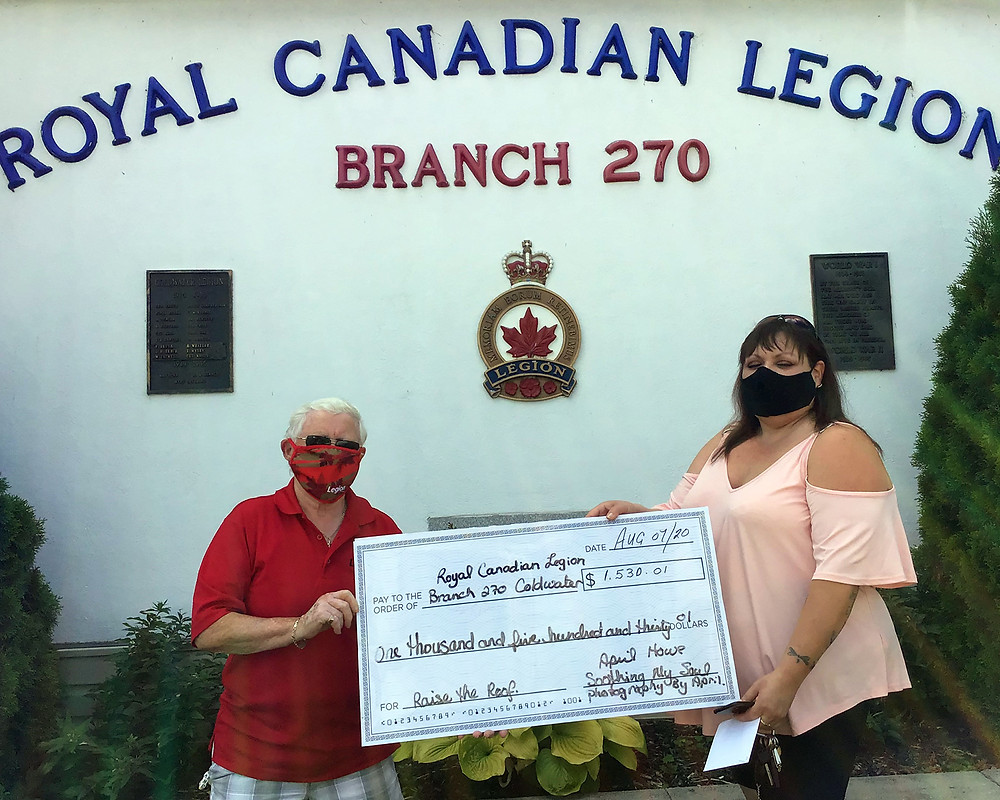 Member of the Coldwater Branch Executive, Comrade Marg Murphy (left), accepts the donation of $1,530 from April Dawn on August 7, 2020.
