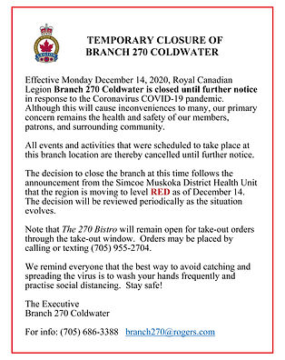 Poster for CLOSURE OF BRANCH 270 IN RESP