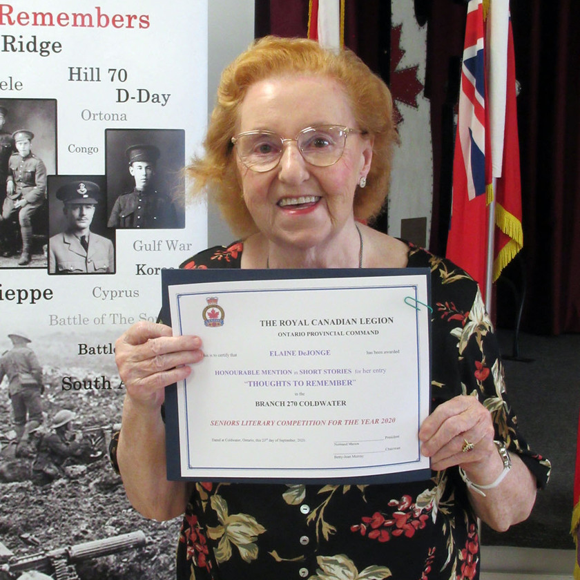 Participant in this year's Legion's (Ontario Command) Seniors Literary Competition, Elaine DeJong received an Honourable Mention in the Short Story category for her submission titled Thoughts to Remember (Photo by Wanda Beaudoin)
