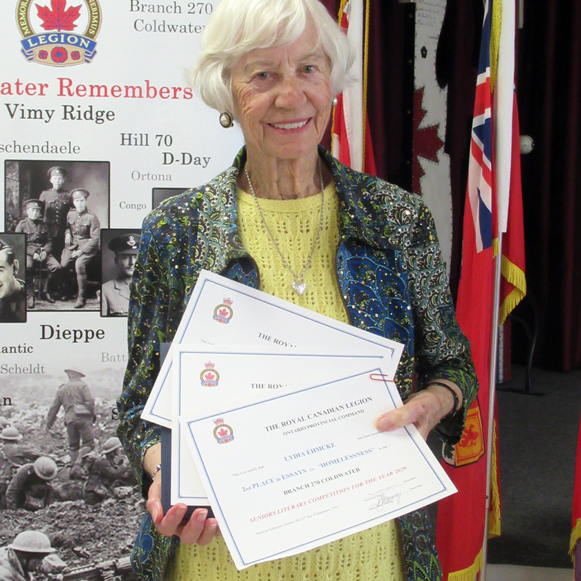 Participant in this year's Legion's (Ontario Command) Seniors Literary Competition, Lydia Ehmcke placed 2nd in the Essay category for her submission titled Homelessness, and received Honourable Mentions in the Short Story category for The Hundredth Birthday Party, and in the Poetry category for Love (Photo by Wanda Beaudoin)