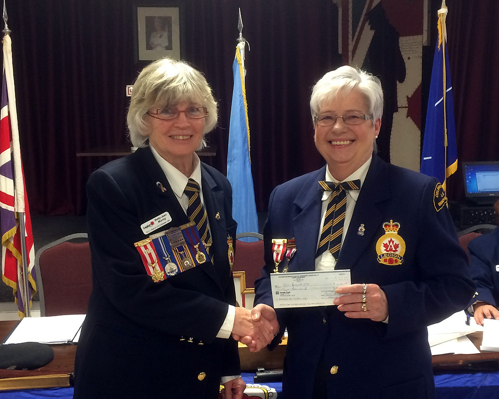 L.A. President Donna Packer (right) presented a cheque for $2,000 to Branch President Betty-Jean Murray, to help with the upgrading of our outdoor information board.