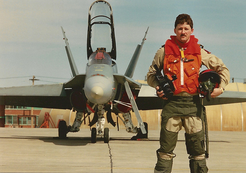Sergeant Marion ready for an Air Photo mission in a CF-18 in Cold Lake, Alberta, 1989.