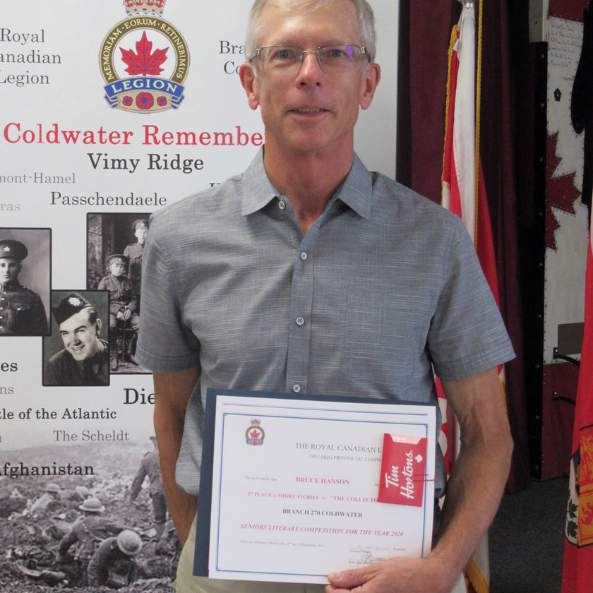 Participant in this year's Legion's (Ontario Command) Seniors Literary Competition, Branch member Bruce Hanson placed 1st in the Short Story category for his submission titled The Collector, and earned an Honourable Mention in the Poetry category for Entwined (Photo by Wanda Beaudoin)
