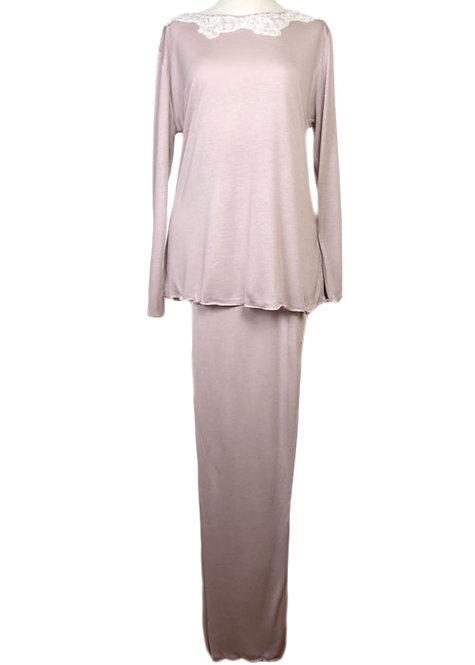 Pigiama da donna in puro micromodal con pizzo in puro cotone - pigiama made in italy di qualità
