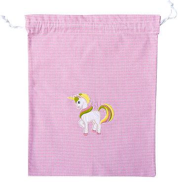 sacchetto per l'asilo da bambina con ricamo fantasia e nome personalizzato made in italy