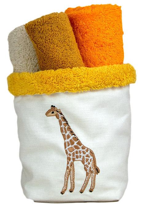Cestino porta lavettes in spugna italiana e e lino, con lavettes incluse nel prezzo