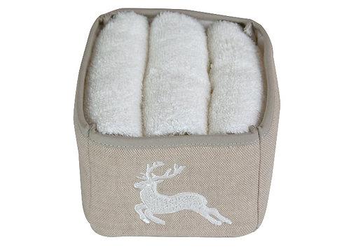 Cestino porta lavettes in puro cotone grezzo con ricamo di un cervo con lavettes all'interno