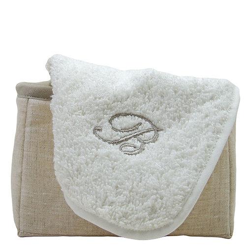 Cubo in puro lino porta lavettes spugna italiana e certificata di qualità made in italy