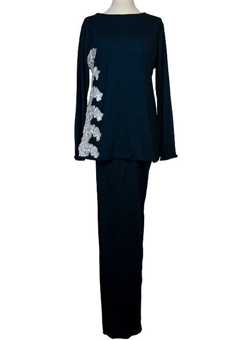 Pigiama da donna in modal con pizzo ricamato in puro cotone manica lunga pantalone lungo - made in italy- prodotto sartoriale