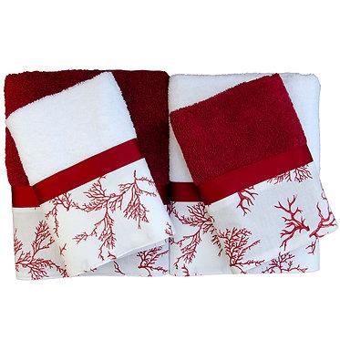 Due set coppie di spugna asciugamano + ospite in spugna italiana puro cotone anallergica